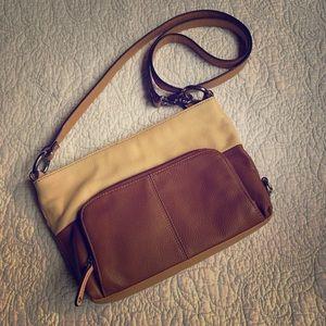 Tignanello cream/tan and brown crossbody purse!